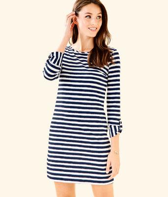 Marlowe Striped T-Shirt Dress, Bright Navy Positano Stripe, large 0
