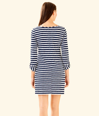 Marlowe Striped T-Shirt Dress, Bright Navy Positano Stripe, large 1