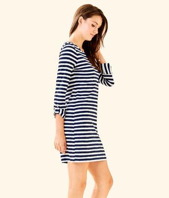 Marlowe Striped T-Shirt Dress, Bright Navy Positano Stripe, large 2