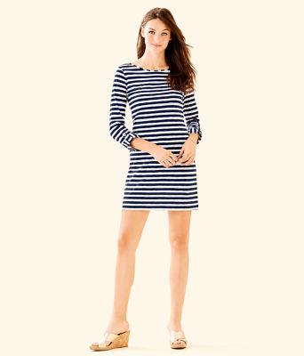 Marlowe Striped T-Shirt Dress, Bright Navy Positano Stripe, large 3