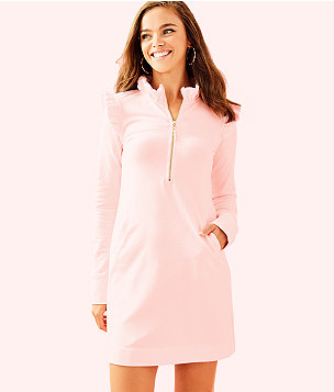 UPF 50+ Skipper Ruffle Dress, Paradise Pink Tint Heather, large