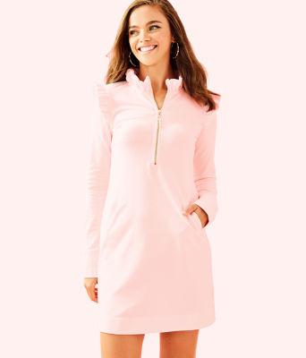 UPF 50+ Skipper Ruffle Dress, Paradise Pink Tint Heather, large 0