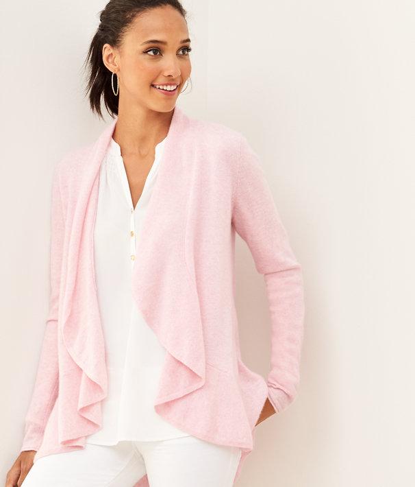 Marette Cashmere Cardigan, Heathered Pink Tropics Tint, large