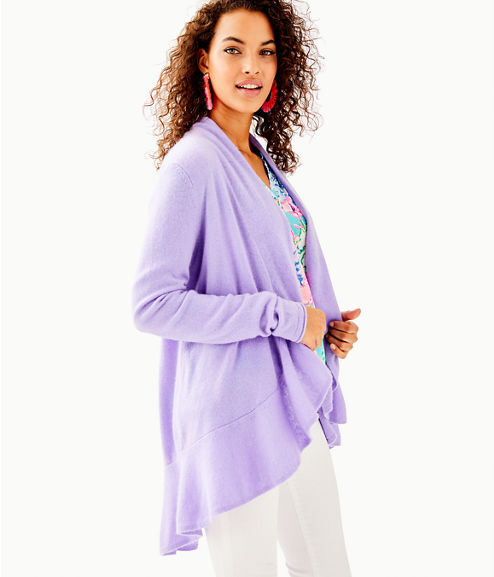 Marette Cashmere Cardigan, Sea Urchin Purple, large