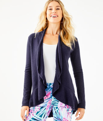 Marette Cashmere Cardigan, True Navy, large