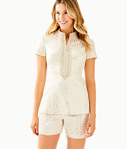 Kerry Top, Gold Metallic Lagoon Jacquard, large