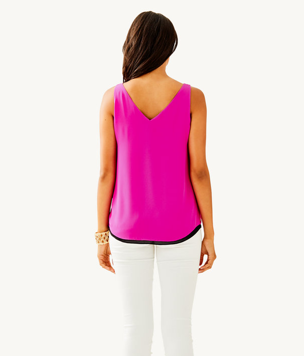 Florin Sleeveless V-Neck Reversible Top, Bougainvillea Pink, large