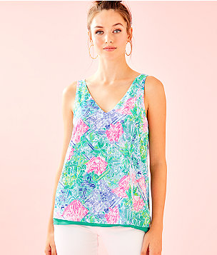 Florin Sleeveless V-Neck Reversible Top, Multi Bohemian Queen Small, large