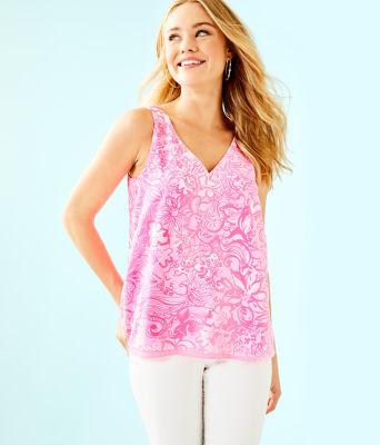 Florin Sleeveless V-Neck Top, Pink Tropics Tint Bunny Hop, large