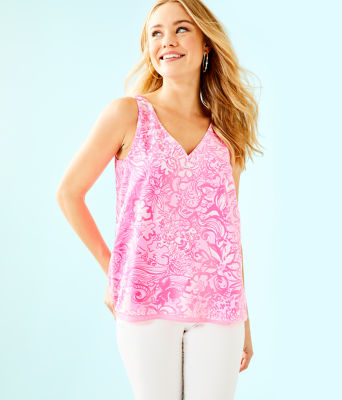Florin Sleeveless V-Neck Top, Pink Tropics Tint Bunny Hop, large 0