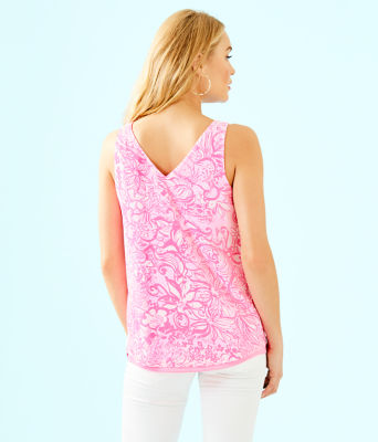 Florin Sleeveless V-Neck Top, Pink Tropics Tint Bunny Hop, large 2