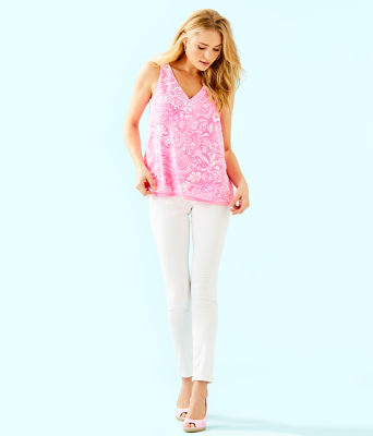 Florin Sleeveless V-Neck Top, Pink Tropics Tint Bunny Hop, large