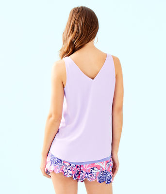Florin Sleeveless V-Neck Top, Purple Iris, large 1