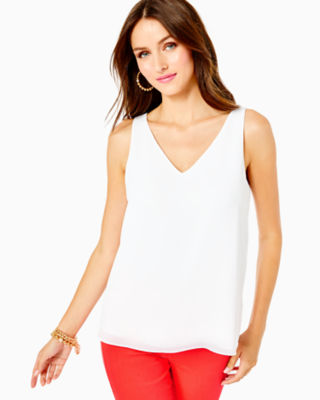 Florin Sleeveless V-Neck Top, Resort White, large