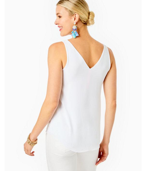 Florin Sleeveless V-Neck Top, Resort White, large