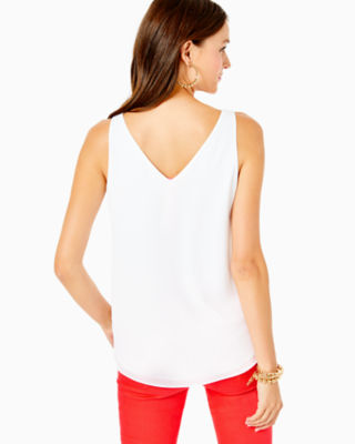 Florin Sleeveless V-Neck Top, Resort White, large 1