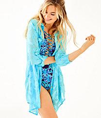 Natalie Shirtdress Cover Up, Amalfi Blue Poly Crepe Swirl Clip, large