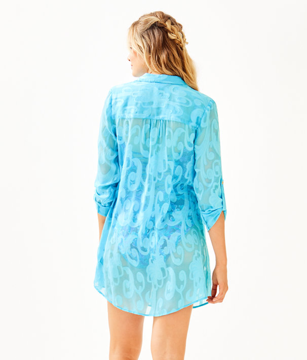 Natalie Shirtdress Cover Up, Amalfi Blue Poly Crepe Swirl Clip, large