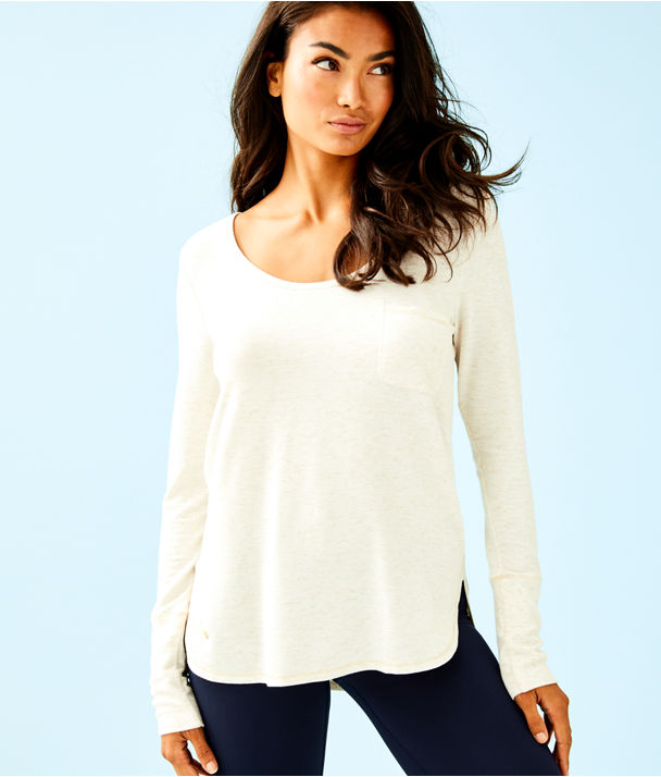 Luxletic Kerah Long Sleeve Lounge Tee, Heathered Coconut, large