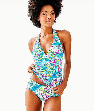 Bliss Halter Tankini Top, Multi Postcards From Positano, large