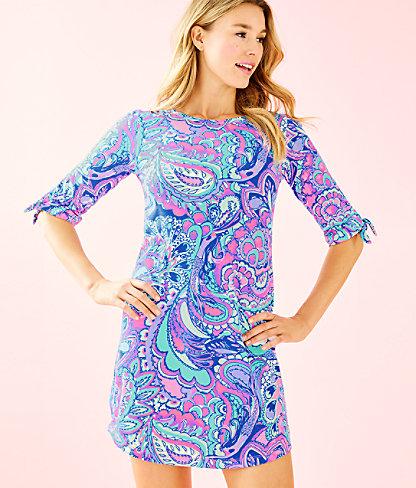 Preston Tie Sleeve Dress, Pink Tropics Mermaids Call, large 0