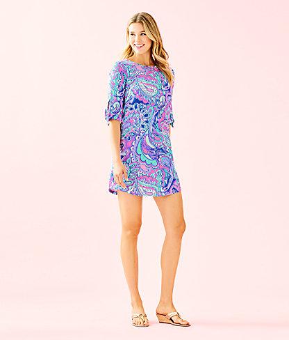 Preston Tie Sleeve Dress, Pink Tropics Mermaids Call, large 3