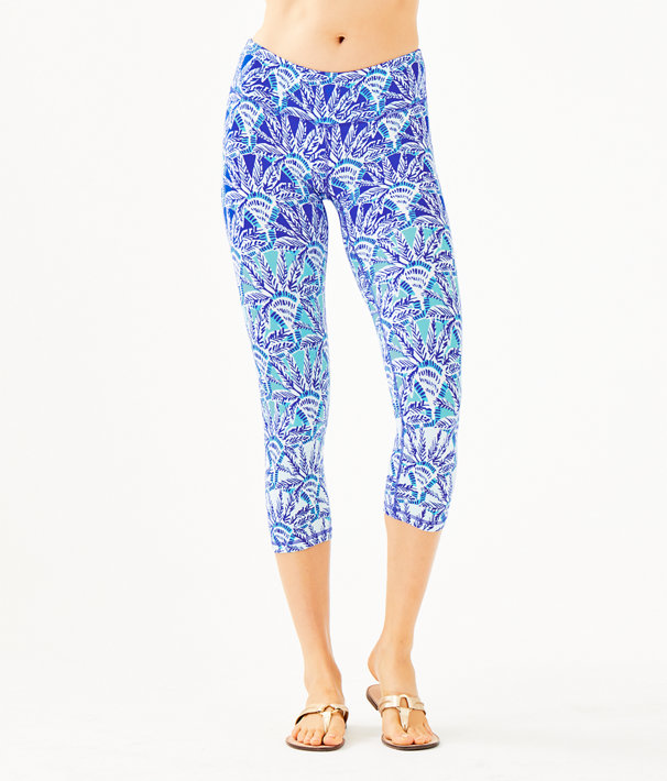 "UPF 50+ Luxletic 21"" Weekender Crop Legging, Whisper Blue One Of A Kind Engineered Legging, large"