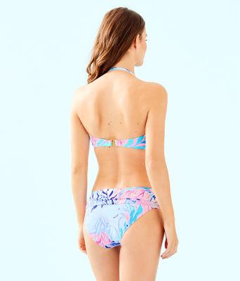 Jessamine Shirred Bandeau Bikini Top, Crew Blue Tint Kaleidoscope Coral, large 1