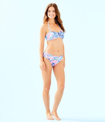 Jessamine Shirred Bandeau Bikini Top, Crew Blue Tint Kaleidoscope Coral, large 2