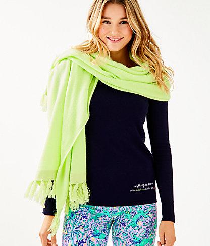 Take Me Away Cashmere Wrap, Celery, large