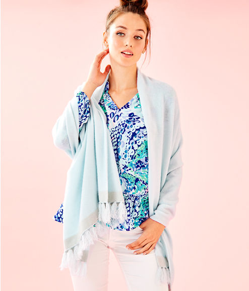Take Me Away Cashmere Wrap, Whisper Blue, large