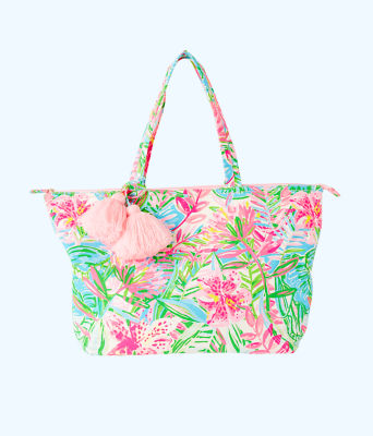 Palm Beach Zip Up Tote, Multi Pop Up Lilly Of The Jungle, large