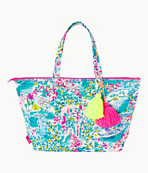 Palm Beach Zip Up Tote, Multi Postcards From Positano, large