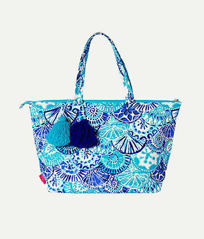 Palm Beach Zip Up Tote Bag, Turquoise Oasis Half Shell, large