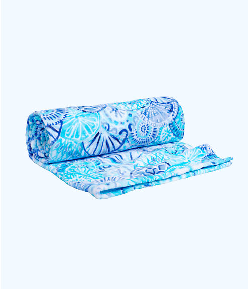 Beach Towel, Turquoise Oasis Half Shell, large