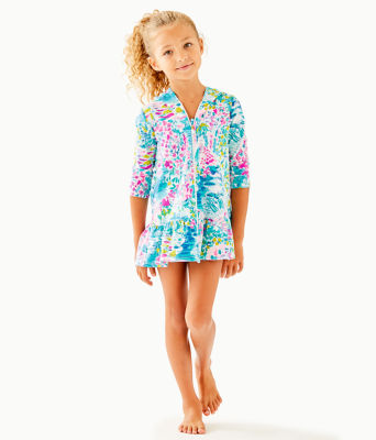UPF 50+ Girls Cooke Cover-Up, Multi Postcards From Positano, large