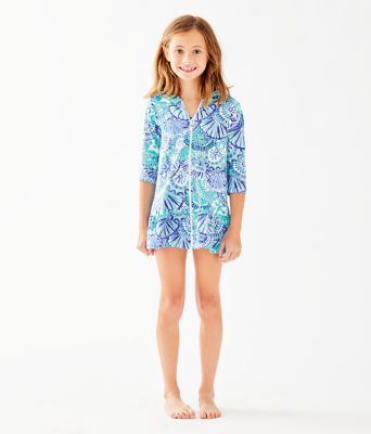 UPF 50+ Girls Cooke Cover-Up, Turquoise Oasis Half Shell, large 0