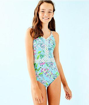 UPF 50+ Girls Mals Swimsuit, Bali Blue Sway This Way Swim, large