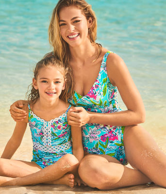 UPF 50+ Girls Mals One Piece Swimsuit, Bali Blue Sway This Way Swim, large