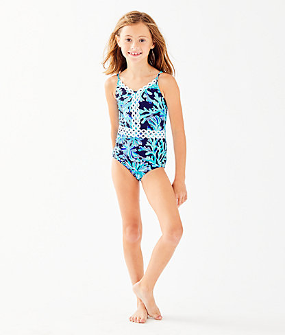 UPF 50+ Girls Mals Swimsuit, Bright Navy In Too Deep, large