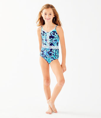UPF 50+ Girls Mals One Piece Swimsuit, Bright Navy In Too Deep, large