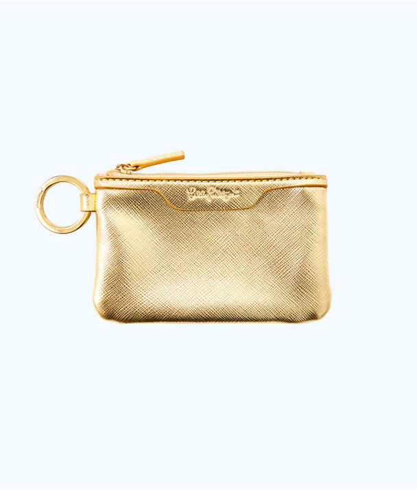 Key ID Card Case, Gold Metallic, large