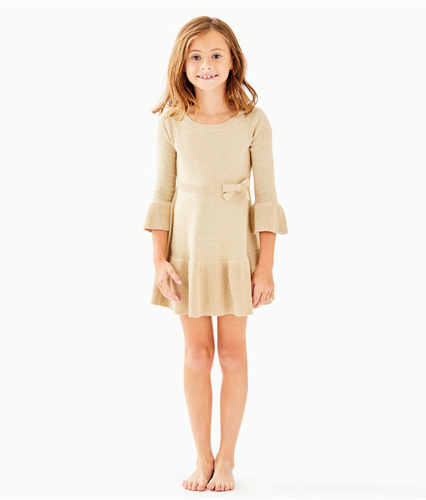 Girls Amara Sweater Dress, Gold Metallic, large