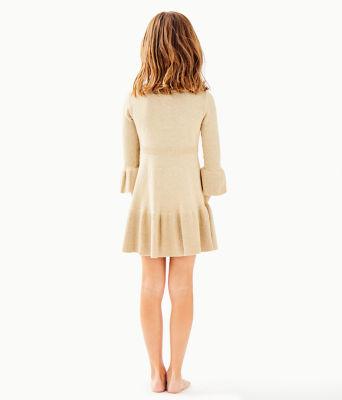 Girls Amara Sweater Dress, Gold Metallic, large 1