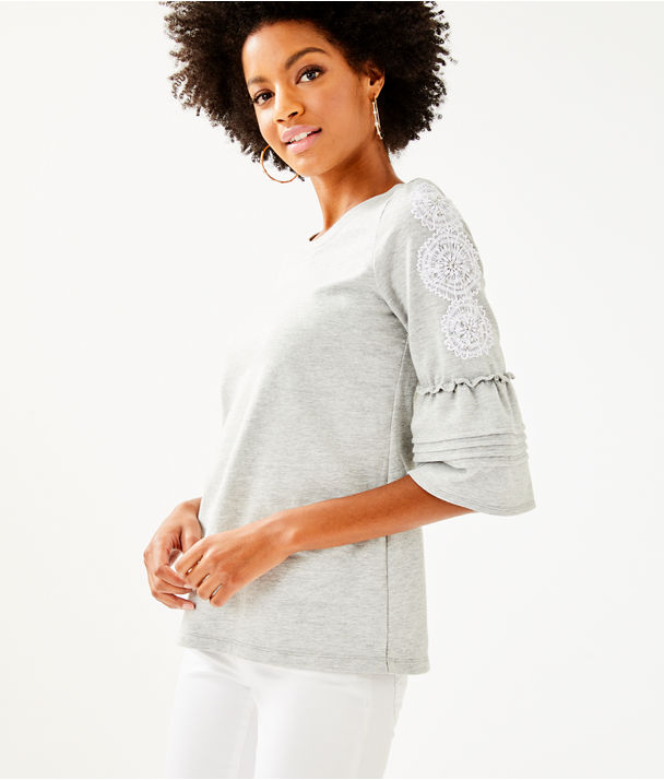 Fatima Embellished Top, Heathered Seaside Grey, large