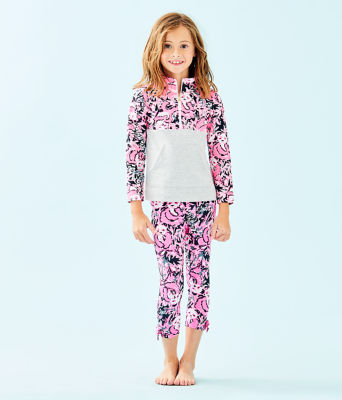 UPF 50+ Girls Mini Asher Popover, Hibiscus Pink Hangin With My Boo, large 2