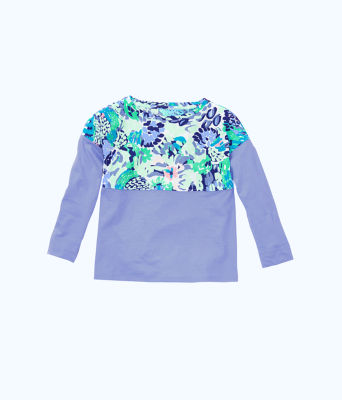 Girls Mini Finn Top, Turquoise Oasis Wave After Wave, large 0