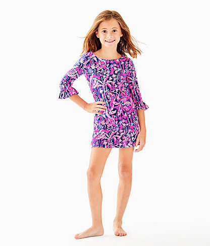 UPF 50+ Girls Mini Sophie Ruffle Dress, Bright Navy Swing Of Things, large