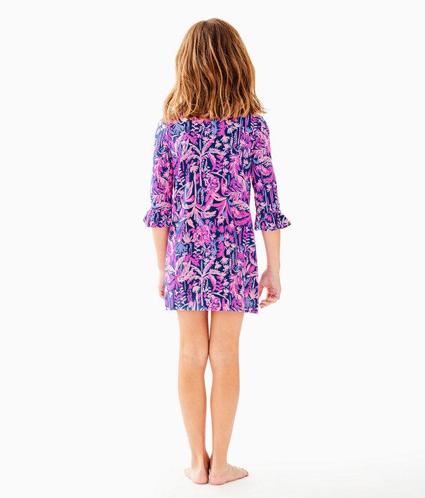 UPF 50+ Girls Mini Sophie Ruffle Dress, Bright Navy Swing Of Things, large