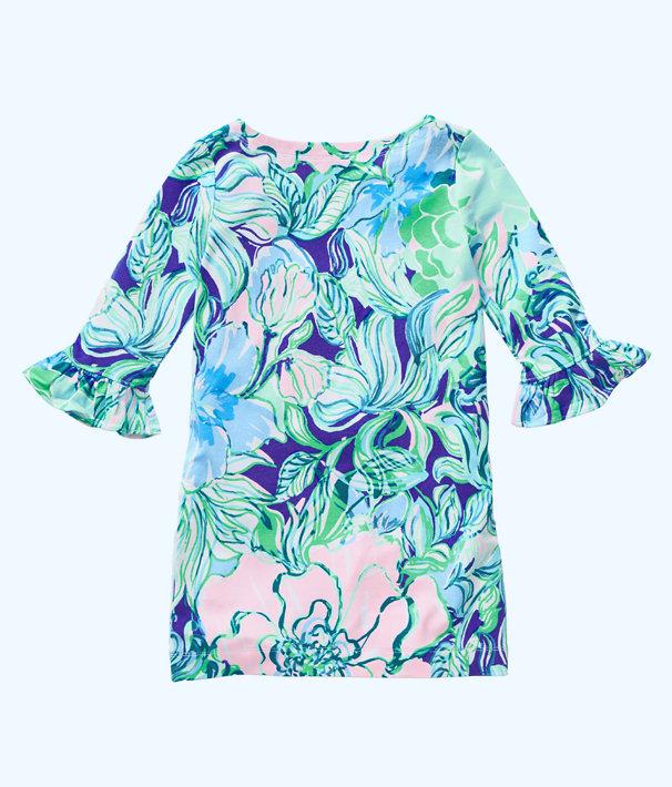 UPF 50+ Girls Mini Sophie Ruffle Dress, Multi Party Thyme, large